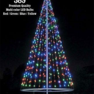 Multicolor Flagpole Christmas Tree Kit Telescoping Flagpoles